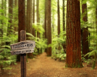 Redwood Forest Personalized Wedding Gift Trail Sign California Customized Photo Anniversary Valentines Day Romantic pp71