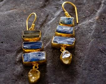 Gemstone earrings with Kyanite and Citrine