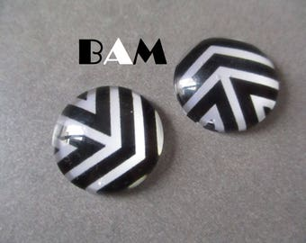 Set of 2 cabochon 20 mm black and white pattern