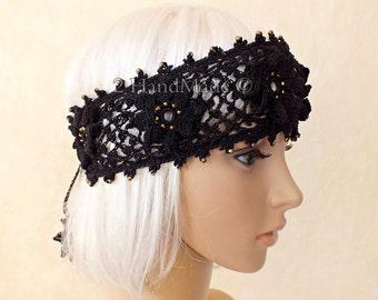 Black OOAK Irish Lace 3D Crochet Headband Dreadlock Head Wrap Boho Gold Glass Beaded Women Ivory Wedding Bridal Cotton Hair Snood