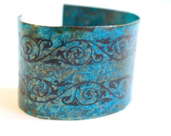 Wide copper cuff, bohemian bracelet, floral cuff, turquoise bracelet, statement bracelet, rustic bracelet, boho