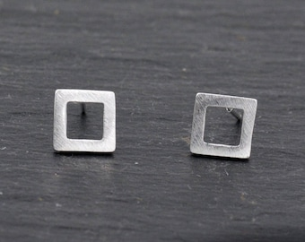 Sterling Silver Little Open Square Stud Earrings Minimalist Geometric Jewellery, Textured Finish.   H43