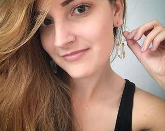 Large Quartz Hoop Earrings, Quartz Point Earrings