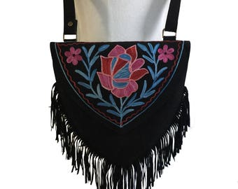 """10""""Lx 10""""Hx 0.5W Black Rose- Sweetheart Boho Chic  Embroidered Crossbody Handbag Suede~ Leather  with Fringe by Kashmirvalley.com"""