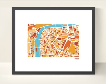 Prague Czech Republic City Map - Illustration Print