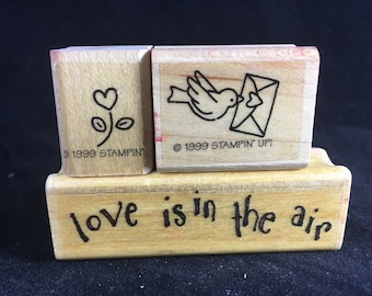 Valentines Day Rubber Stamps Set of 3