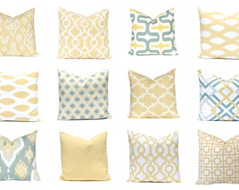 Yellow Pillow Covers - Throw Pillow Covers - Soft Gold Pillow Covers - Accent Pillow - Ikat, Solid, Trellis Prints - Living Room Decor - Yel