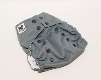 Steel Gray PUL Cloth Diaper - Cloth Diaper Cover - Cloth Pocket Diaper - AI2 Diaper - One Sized Purple Diaper - Velcro or Snaps