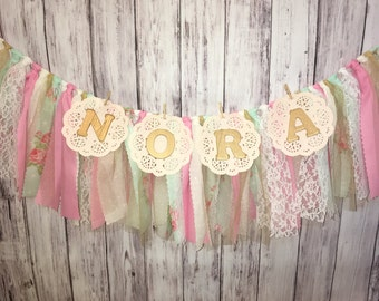 Pink and Blue Garland With Name // Shabby Chic Banner With Name // Vintage Banner With Name // Fabric Garland // Personalized Banner