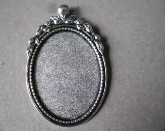 x 1 medium oval tray cameo/cabochon pendant silver leaf aged 5,6 x 3,6 cm