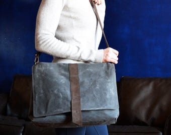 Womens Messenger Bag, Waxed Canvas Bag Woman, Laptop Satchel Crossbody Shoulder Bag, Professional Business Work Bag - The Sloane in Charcoal