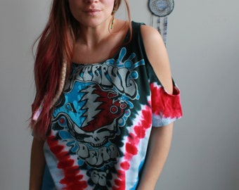 Red Blue Grateful Dead Steal Your Face Tie Dye Eco Friendly Cut Out open Off The Shoulder Peep Shoulder Upcycled Tshirt/Tee/Top/Shirt O/S