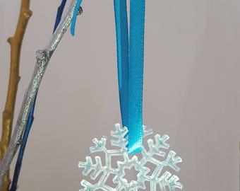 Decorative Christmas Tree Snowflakes snow Blue Epoxy