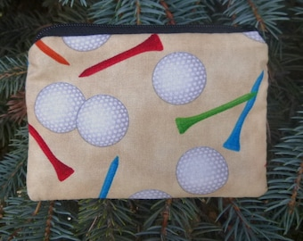 Golf coin purse, tee and ball marker pouch, gift card pouch, Golf Balls and Tees on Sand, The Raven