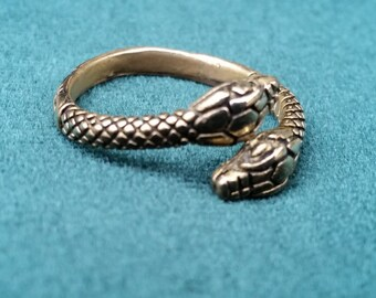 Two-headed snake ring, Adjustable snake Ring, Serpent ring, Viking ring, Norse jewelry