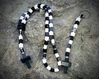 The Original MementoMoose Rosary and Chaplet Set Made with Lego Bricks - Black and White - First Communion Special!