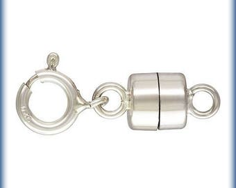 Sterling Silver 4.5mm Magnetic Clasps with 5mm Spring Rings, Magnetic Clasp convertors for necklaces bracelets, strong jewelry magnet clasps