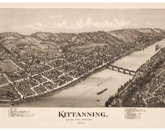 Kittanning, Armstrong County, Pennsylvania. Antique Birdseye Map; 1896