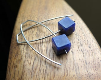 blue stone earrings. sodalite jewelry. hammered sterling silver.