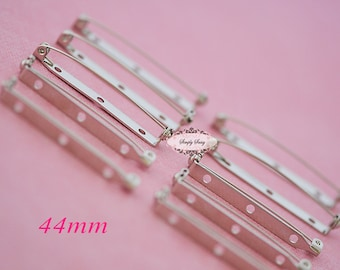 10pcs Silver Plated Pin Back Brooch Pins - Brooch Findings - Pin Base - DIY Brooch