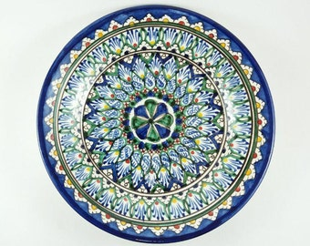 Plates wall decor blue Uzbek plates on wall display plates for stands decorative plates on wall blue pottery plates wall hanging P1  sc 1 st  Etsy & Blue plates on wall display decorative plates on wall blue