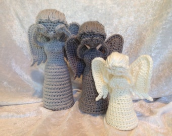 Don't blink!  Crochet Weeping Angel Statue - 3 sizes available!