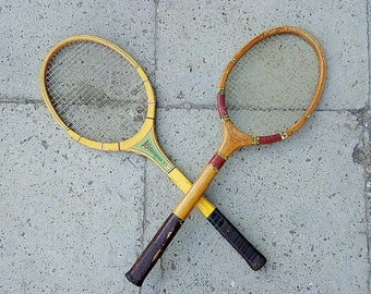 Vintage wooden tennis rackets / Soviet badminton racket / Retro sport racquet USSR