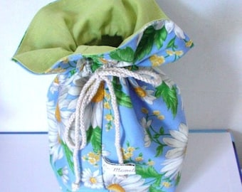 tote bag canvas blue printed daisies