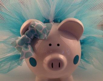 Polka Dot Tutu Piggy Bank-Piglet- turquoise, light blue and white, Baby Gift