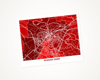 Bowling Green KY Map Print.  Choose your color and size.  Perfect for your Western Kentucky University Hilltopper.