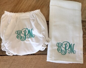 Baby Bloomers and Burp Cloth Gift Set - Monogrammed