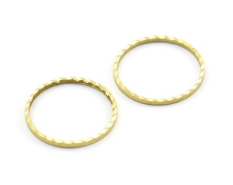 Textured Brass Charm, 50 Cutting Raw Brass Circles (16mm) A0585