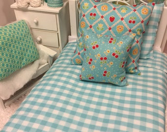 Doll Aqua Bedspread and Euro Sham Pillows 18 inch sized Doll Bed