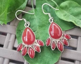 Red onyx earrings, 925 Silver Earrings, Sterling Silver Earrings, red stone earrings, Gemstone Earrings, Onyx earrings, Cabochon Earrings