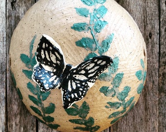 Carved Butterfly Wall Hanging - Stoneware