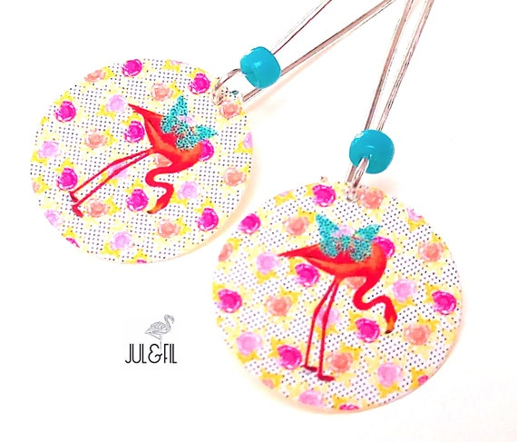 The turquoise butterfly, organic cotton canvas Flamingo earrings