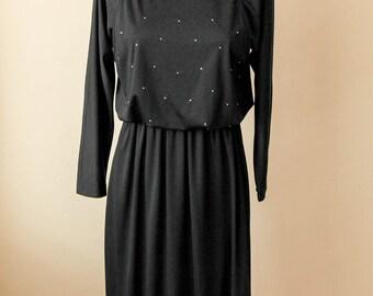 Starry Night   Black Sparkle Dress   Black Evening Dress   Long Sleeve Black Dress   Black Beaded Dress   Vintage Black Maxi Dress   Size 8