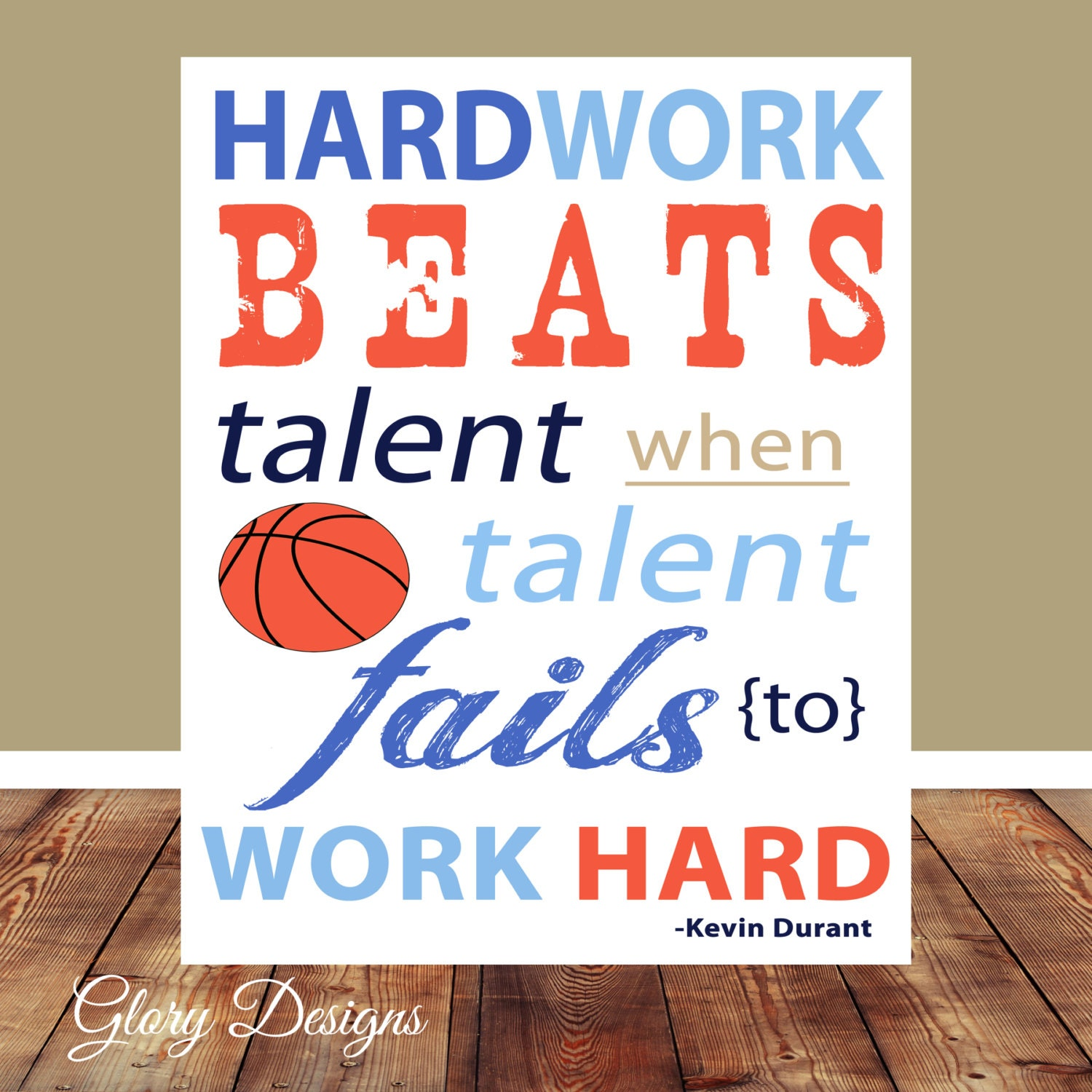 Kevin Durant Quote Hardwork Inspirational Quote Basketball Quote Kevin Durant