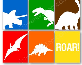Dinosaurs Wall Canvases or Art Prints, Triceratops, Tyrannosaurus Rex and Apatosaurus, Nursery or Boys Room Art Prints, Dinosaur Canvas Art