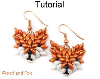 SuperDuo Beading Pattern - Beaded Red Fox Face Tutorial - Beaded Earrings Necklace - 3D - Simple Bead Patterns - Woodland Fox #28062