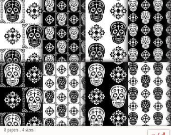 Wrapping Paper - Dia de los Muertos - Day of the Dead - Black & White, Digital Download, Printable PDF, Instant Download