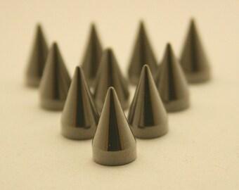 10 pcs.Gunmetal Cone Spikes Screwback Studs Leathercraft Decorations Findings. WYGun712