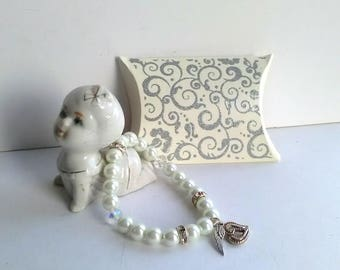 Faux Pearl and Crystal Bracelet with Guardian Angel Wing and Heart Charms