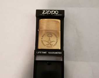 Rare Marine Security Guard Solid Brass Zippo Lighter! Jeddah Saudi Arabia Detachment/ Never Struck