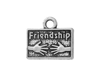 5 Friendship Hands Charms in Silver Tone - C2227