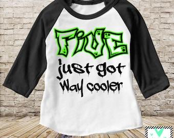 Five Just Got Way Cooler - Raglan T-Shirt - Boys 5th Birthday Shirt - Birthday Boy - 5th Birthday 5th birthday shirt boy 5th birthday outfit
