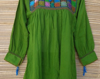 Mexican Women's Mini Dress Boho Huipil Tunic with Flowers Embroidered M