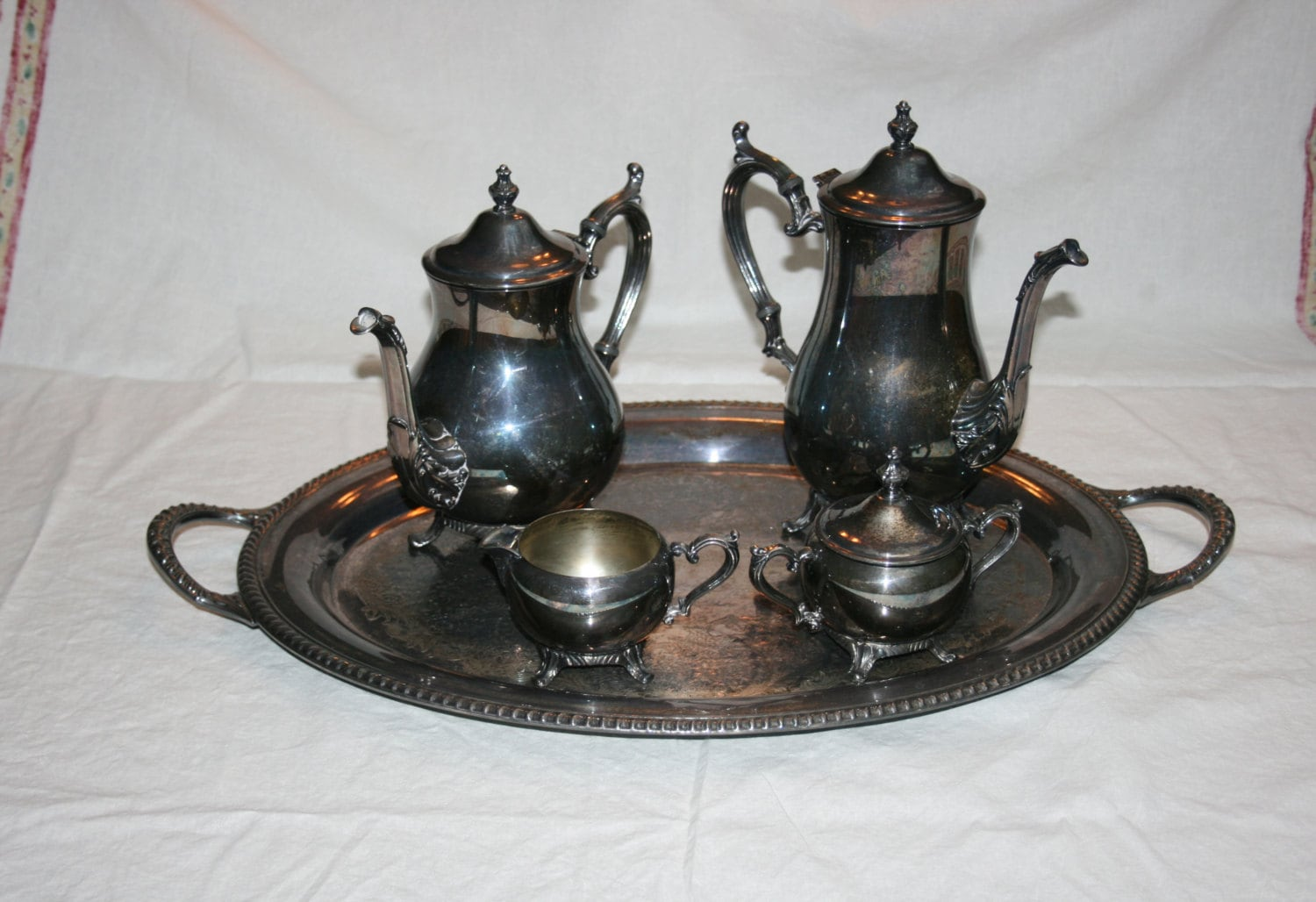 Vintage Wm Rodgers 800 Silver Plate Tea Set 1950\'s - Coffee Pot ...