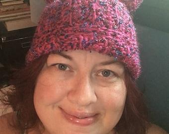 Fuchsia Slouchy Kitty Hat