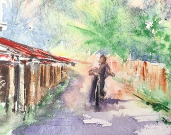 Bicycle in the Village - Original Watercolor Painting